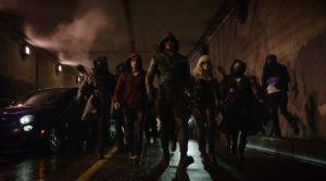 Random Ninja, Roy Harper, Arrow, Canary, Nyssa al Ghul (L-R)